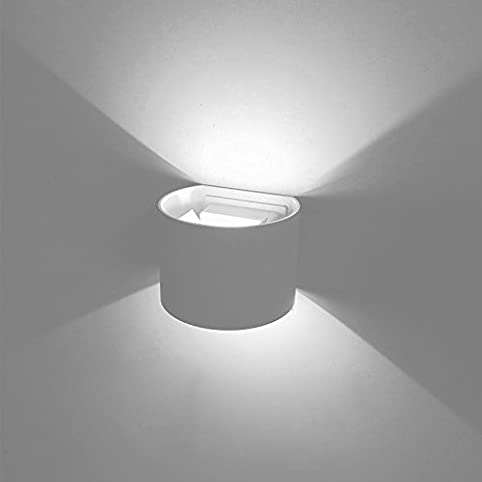 BRILLRAYDO 10W LED Outdoor Wall Light Up Down Lamp Beam Angle Adjustable White Finish Pure