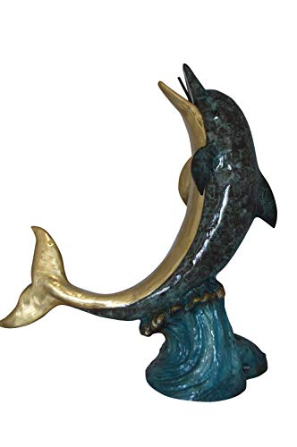 Single Dolphin On Wave Fountain Bronze Statue - Size: 48