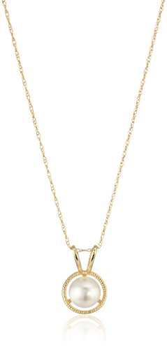 (10K Gold Dainty Swarovski Elements Birthstone Pendant with Gold Filled Chain, June)