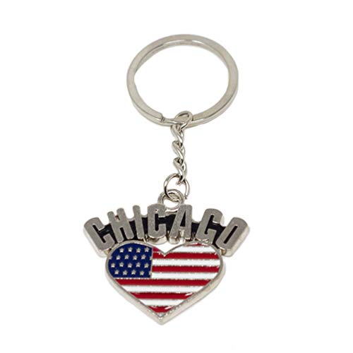 City of Chicago Souvenir American Flag Heart Key Ring Keepsake -