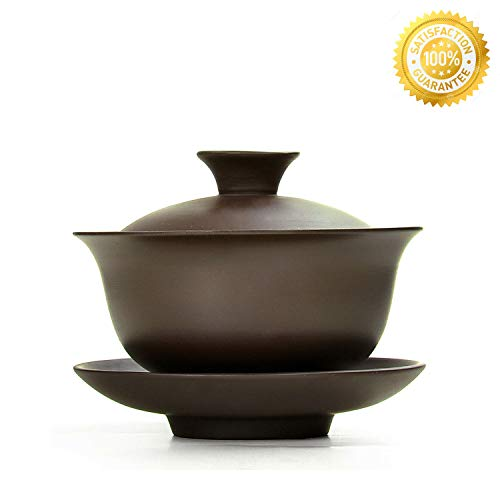 Teacups set,QMFIVE,Chinese Traditional Teaware Zisha Porcelain Gaiwan Kungfu Tea bowl with Lid and Saucer - 3.4oz/100cc