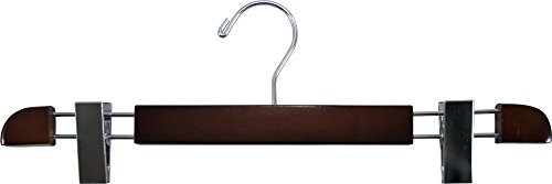 Stylish Wooden Bottoms Hanger with Low Profile and Extra Large Adjustable Clips, Hangers for Pants or Skirts with 360 Degree Chrome Swivel Hook by The Great American Hanger Company (100, Walnut) by The Great American Hanger Company