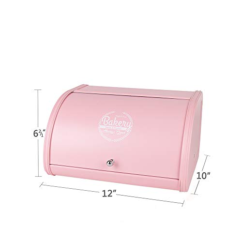 Kitchen Pink Accessories - Hot Sales X458 Metal Bread Box/Bin/kitchen Storage Containers with Roll Top Lid (pink)