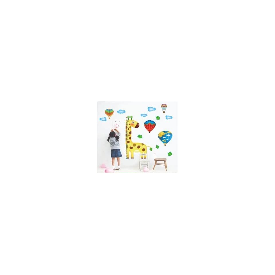 Giraffe Hot Air Balloons Height Growth Chart Measures up to 170cm Wall Sticker Decal for Baby Nursery Kids Room