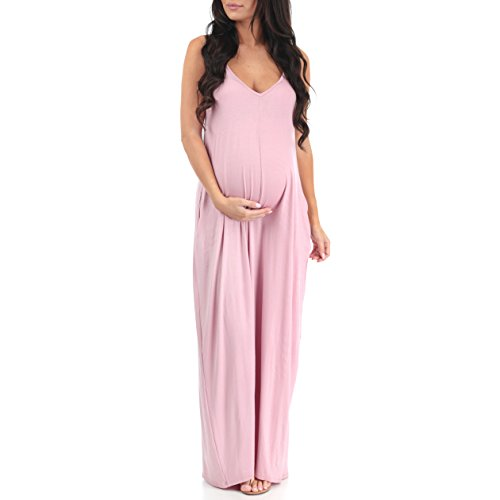 Womens Couture Dress (Mother Bee V-Neck Cami Maternity Maxi Dress with Adjustable Straps by Rags and Couture)