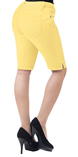 HyBrid & Company Womens Perfectly Shaping Hyper Stretch Bermuda Shorts B43308 Yellow ()