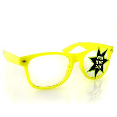 Vintage Wayfarer Style Sunglasses - Clear Lenses Yellow Glow in the Dark
