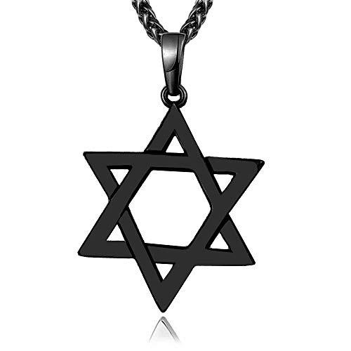 Reizteko Jewish Jewelry Megan Star of David Pendant Necklace Women Men Chain Black Gun Plated Stainless Steel Israel Necklace (Black)
