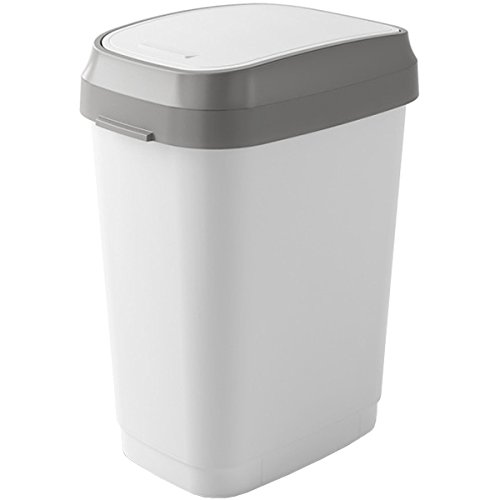 Kiss Kis Abfallbehälter Dual Swing 25 Liter in weiß-grau, Plastik, 26x37.5x48.5 cm