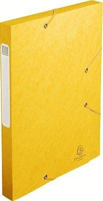 (Exacompta Cartobox Elasticated Box File with 3 Flaps and 3 cm Spine 5/10th Polished Cardboard Pack of 25 Yellow )