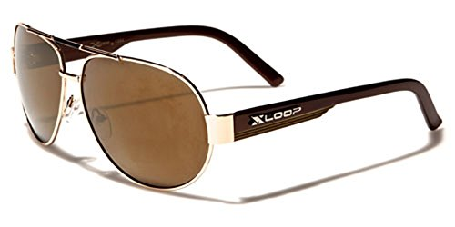 X-Loop Retro 80s Mirrored Aviator Sunglasses - Gold & - Xloop Sunglasses Aviator