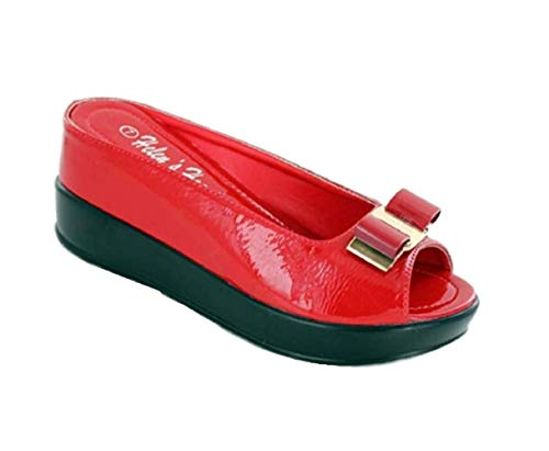 (Helens Heart Hidden Wedge Slide Causal Sandal with Bow, 8127-30, Red, Size 9)
