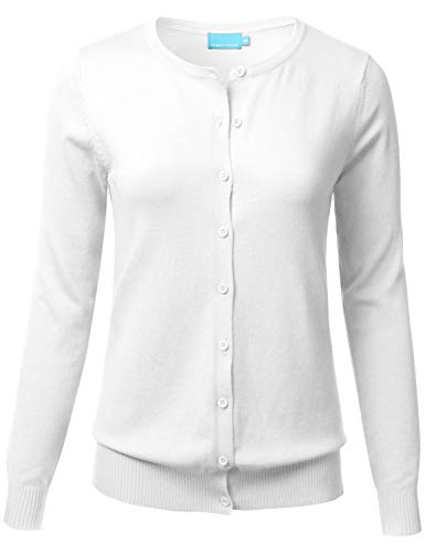 FLORIA Women's Button Down Crew Neck Long Sleeve Soft Knit Cardigan Sweater White M