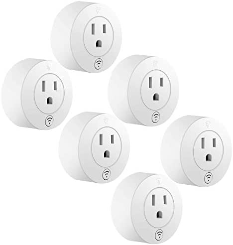 TOPGREENER Smart Mini Wi-Fi Plug with Energy Monitoring, Smart Outlet, Control Lights and Appliances from Anywhere, No Hub Required, Compatible with Alexa and Google Assistant, TGWF115PRM, 6 -Pack