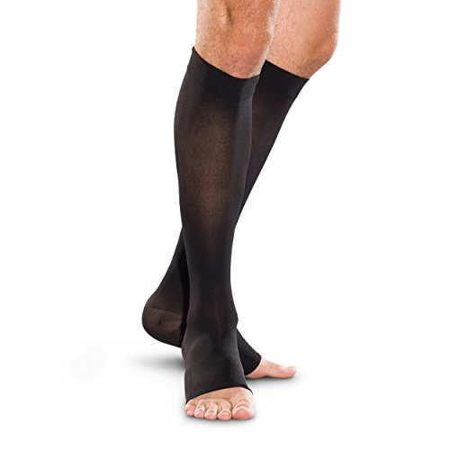 Therafirm Open-Toe Knee High Stockings - 20-30mmHg Moderate Compression Support Nylons (Black, XXL)