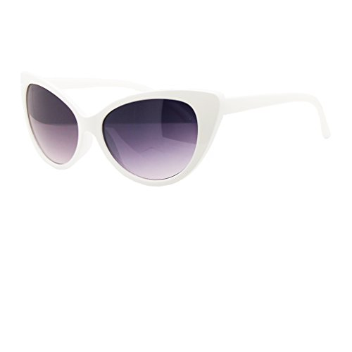 [50's Women's OG Classic Cat Eye Sunglasses (White, 55)] (White Cat Costume For Women)