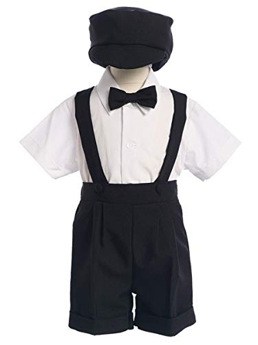 Black Special Occasion Suspenders and Short Set with Hat - Size 3T