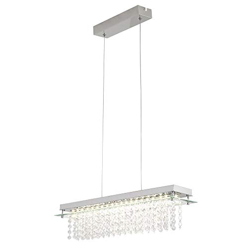 Horisun K9 Crystal Chandelier LED Dimmable Modern Rectangle Chandeliers Polished Chrome Finish Dining Room Light, H55.1