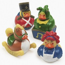 12 Vintage Classic Christmas Holiday Toy Rubber Duckies Ducks Duckys