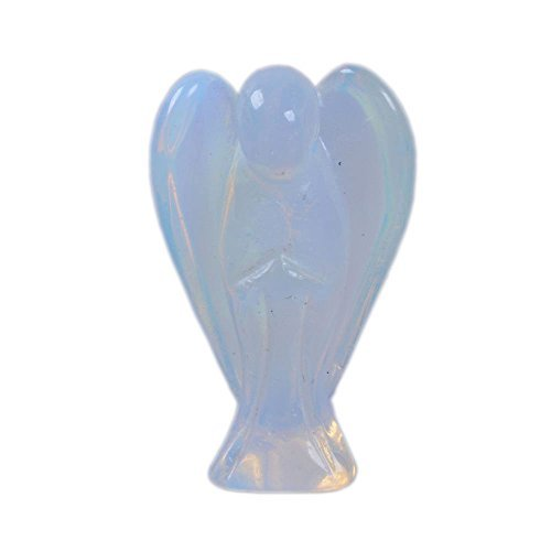 - Carved Moonstone Opalite Glass Peace Angel Pocket Guardian AngelHealing Statue 1.5 inch