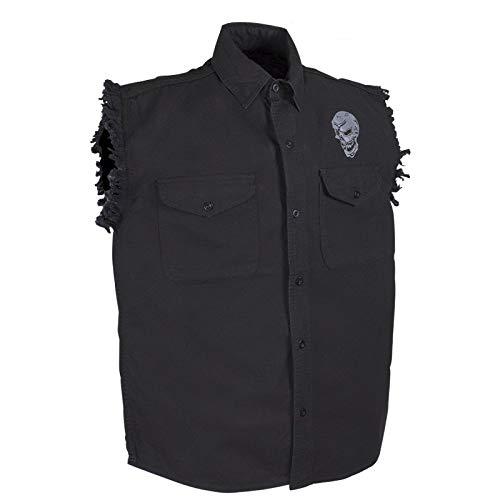 (Black Skull Denim Sleeveless Shirts with Buttons)