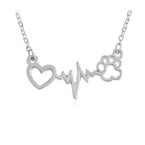Kebaner Forever Love Heart Dog Cat Bear Puppy Paw Pendant Wavy line Electrocardiogram ECG Necklace Gift