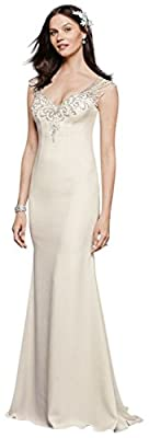 David's Bridal Beaded Stretch Crepe Wedding Dress Style SWG752