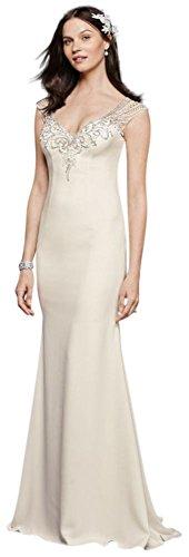 Beaded Stretch Crepe Wedding Dress Style SWG752, White, 16