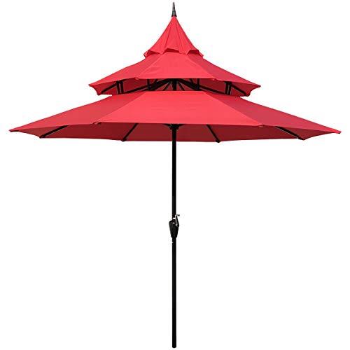 (ABBLE Outdoor Patio Umbrella 9 Ft Pagoda with Crank, Weather Resistant, UV Protective Umbrella, Durable, 8 Sturdy Steel Ribs, Market Outdoor Table Umbrella,)