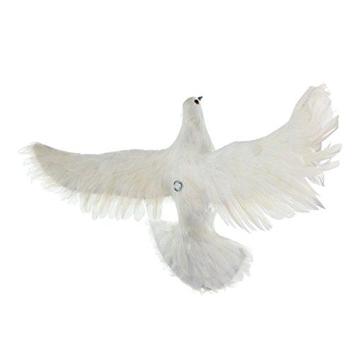 Baoblaze 1x Fake Artificial Feathered Pigeon Decoy Realistic Dove Bird Garden Decor - #4 White Flying