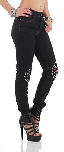 11127 Fashion4Young Damen Röhrenjeans Jeans Hose Stretch-Denim Skinny Röhre Schwarz noPaTvnl