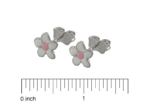 18K White Gold White w Pink Enamel Flower Earrings