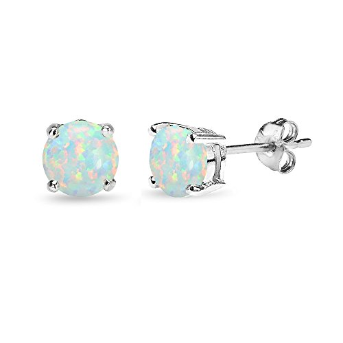 Sterling Silver Simulated White Opal 6mm Round-Cut Solitaire Stud Earrings