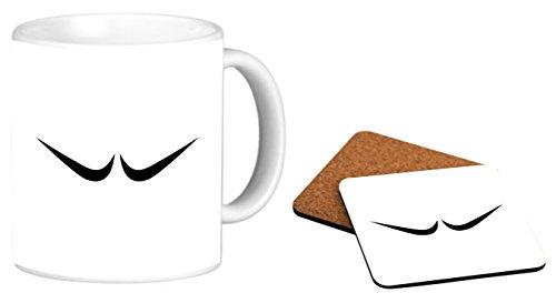 Rikki Knight Salvador Dali Mustache Design Photo Quality 11 oz Ceramic Coffee Mug + Matching Square Cork Backed Coaster ()