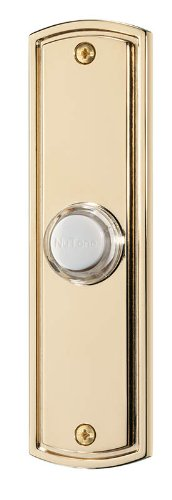 NuTone PB61LPB Wired Lighted Door Chime Push Button, Polished Brass