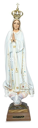 Hand Painted Our Lady of Fatima Statue - Made in Fatima (13.5