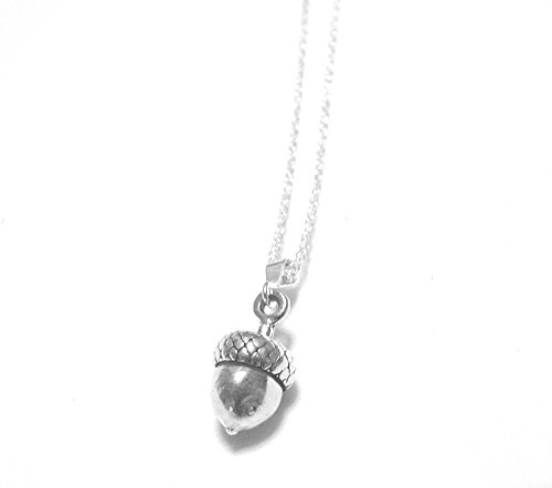 Acorn Small Sterling Silver Charm Necklace Woodland Botanical Nature Theme Jewelry