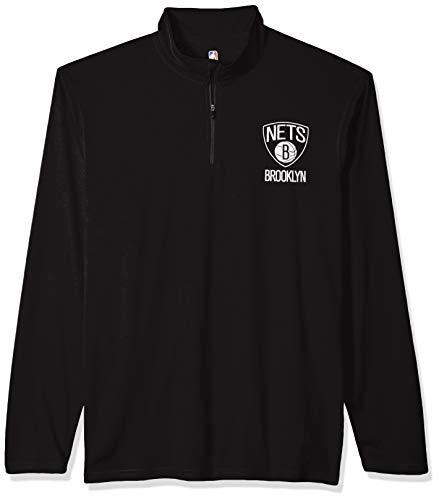 NBA Brooklyn Nets Men's Quarter Zip Pullover Shirt Athletic Quick Dry Tee, Large, Black