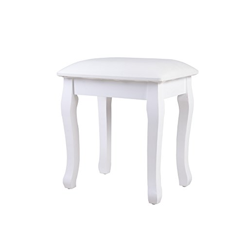 picture of Organizedlife White Vanity Stool Padded Makeup Chair Bench