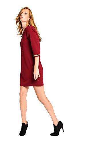 Bordeaux 3 Straight 36 LOLALIZA 42 Sizes Sleeves v F Dress Neck 4 qaqw8IZ