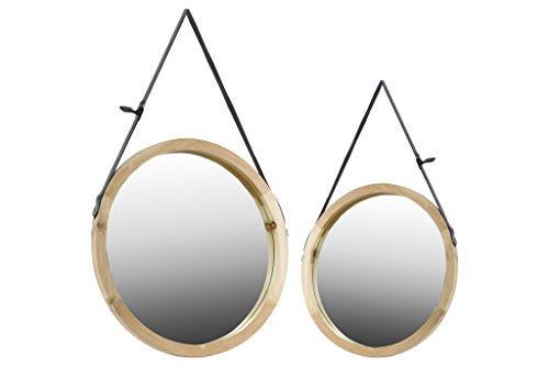 Urban Trends Wood Round Mirrors with Belt Hanger Set of Two Natural Wood Finish Tan, Tan (Collection Urban Living Mirror)