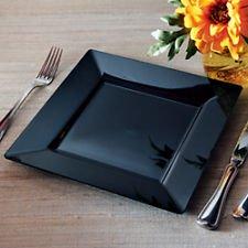 Square Plastic Dinner / Buffet Plates Black 9.5 Inch 120ct Elegant Wedding Plate