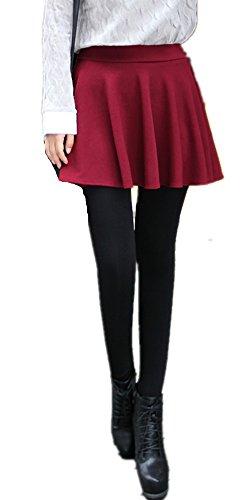 MULLSAN Women Winter Super Warm Velvet Stretchy Skirt Leggings (Red) -