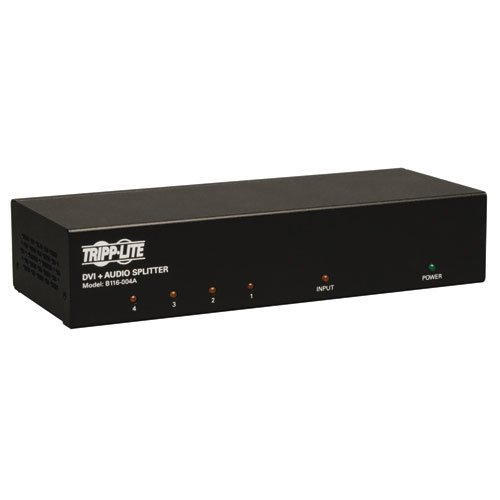 Tripp Lite 4-Port DVI Splitter with Audio and Signal Booster Single Link - 1920x1200 at 60Hz / 1080p (DVI F/4xF)(B116-004A)