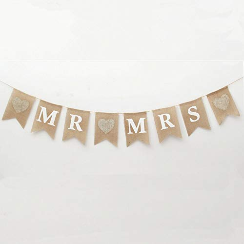 Burlap Wedding Decorations (FQTANJU MR and MRS Burlap Flag, Linen, Natural fiber, Environmental, Protection, 8 Pcs Flag /)