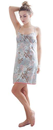 Cottonreal 'Autumn Leaves' Grey & Pink Floral Print Soft 100% Cotton Chemise X Large