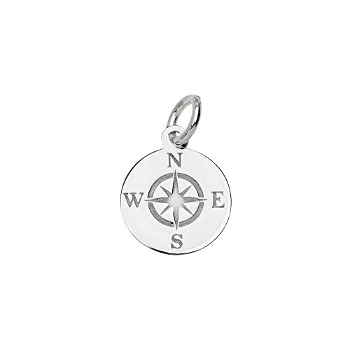Beadaholique Sterling Silver Charm, Round Compass with Jump Ring 13.5x11mm, 1 Piece