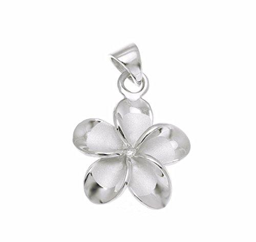 (Arthur's Jewelry 925 Sterling Silver Rhodium Plated Hawaiian Plumeria Flower no cz Stone Pendant 15mm )