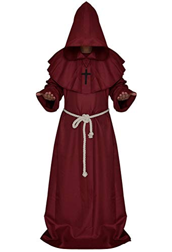 Mens Halloween Cosplay Costume Friar Medieval Hooded Monk Priest Robe Tunic