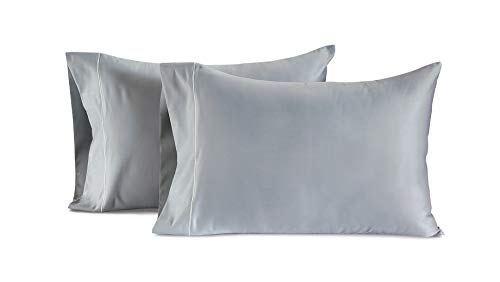 CHATEAU HOME COLLECTION Luxury 100% Egyptian Cotton 800-Thread-Count Egyptian Cotton Deep Pocket Sateen Weave, Set of 2 Standard Pillowcases - Silver